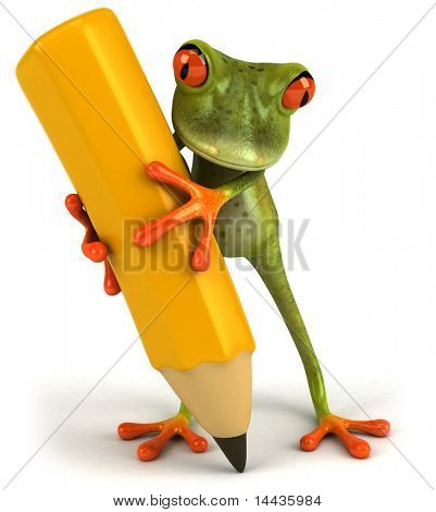 Frog with a crayon
