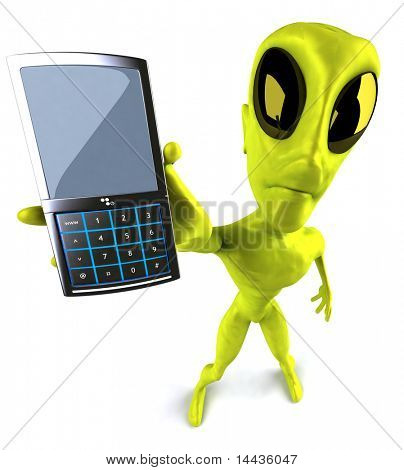 Alien with a mobile phone