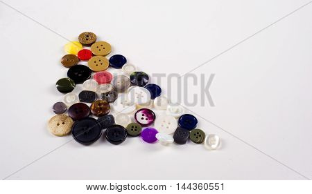 Sewing Buttons Collection. Various Sewing Buttons With A Thread.
