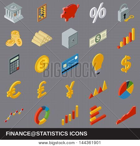 Financial statistics flat isometric 3d icons collection