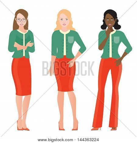 Business Women in smart suit office workers or teamwork Cartoon character business people vector illustration.