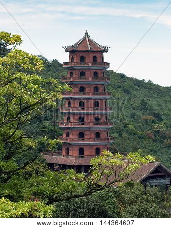 Quang Ninh, Yen Tu, VIETNAM, August 16, 2016 the tower, Yen Tu temple, Quang Ninh province highland, Vietnam