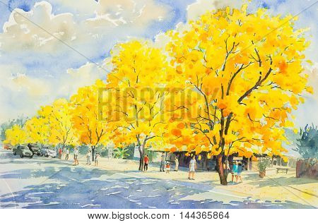 watercolor painting yellow orange color of goldentree flowers in sky and cloud background original painting