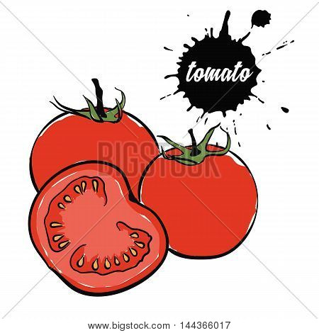 Isolated eco natural food vegetables red tomato