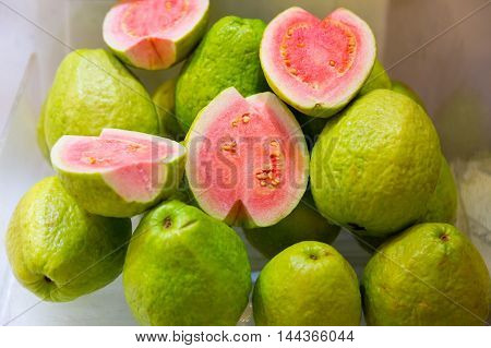Guava fruits on display at a fresh market in Taiwan