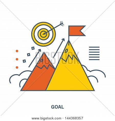 Concept of success corporate business and goals. Color Line icons. Flat Vector illustration