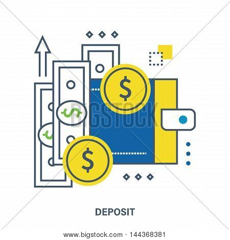 Deposit vector illustration in flat style. Saving money concept.