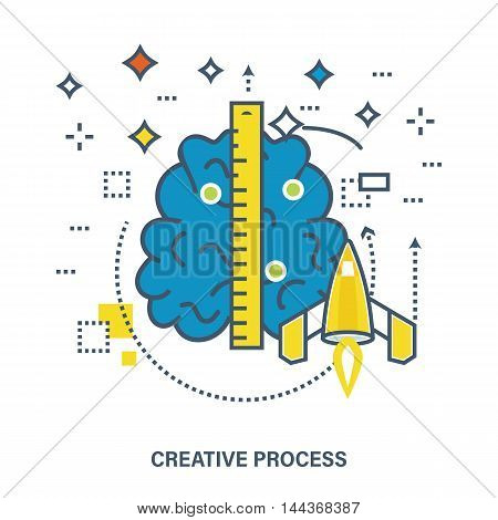 Concept of creative process, creativity, imagination, design thinking and startup projects. Color Line icons. Flat Vector illustration