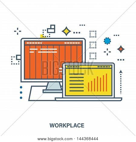Concept of workplace in office, organize office environment. Color Line icons. Flat Vector illustration
