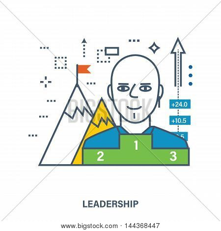 Concept of success or leadership concept with mountain landscape. Color Line icons. Flat Vector illustration