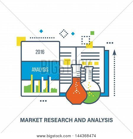Concept of market research and analysis. Color Line icons. Flat Vector illustration