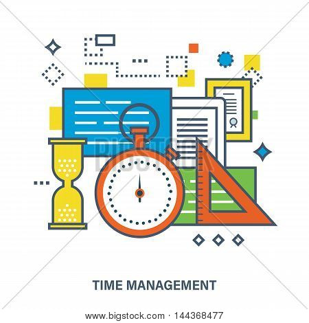 Concept of time and project management. Color Line icons. Flat Vector illustration