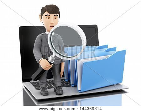 3d renderer image. Businessman with a magnifier glass examines folders. Isolated white background