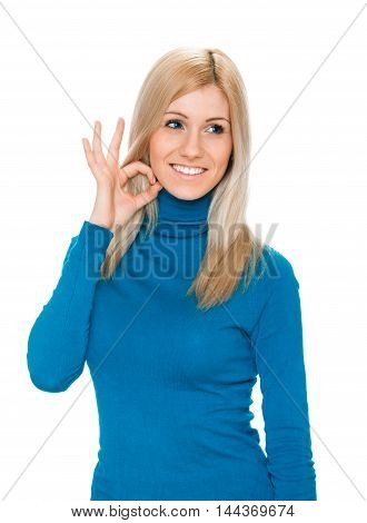 woman showing fingers on her throat. Sign of wishing drink. Islolated on white.