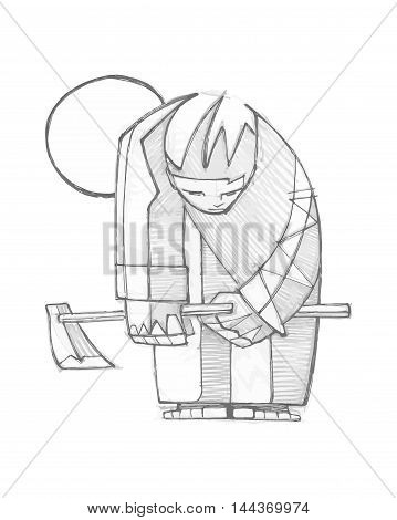 Hand drawn vector illustration or drawing of a farmer with a hoe
