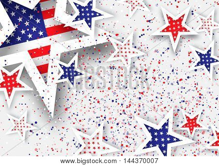 Origami Stars and stripes on grey background with dot. Abstract american flag. Vector illustration. Poster Template.