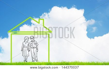 House figure as real estate symbol on clouds background