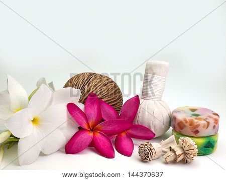 Beautiful composition of spa treatment On a white background (Space for your text)