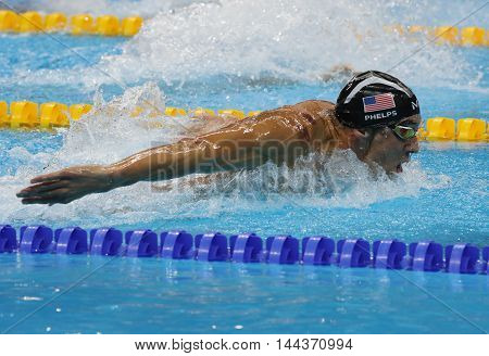 RIO DE JANEIRO, BRAZIL - AUGUST 8, 2016: Olympic champion Michael Phelps of United States competing at the Men's 200m butterfly at Rio 2016 Olympic Games at the Olympic Aquatics Stadium