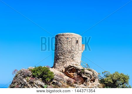 Age signal tower and watchtower or defense tower in Mallorca Spain.