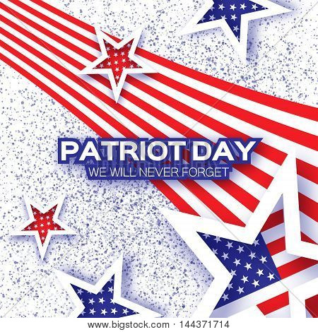 Origami Patriot Day on white background with dots. Stars and stripes. Abstract american flag. We will never forget. September 11 2001. Vector illustration. Poster Template.