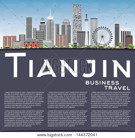 Tianjin Skyline with Gray Buildings, Blue Sky and Copy Space. Business Travel and Tourism Concept with Modern Buildings. Image for Presentation Banner Placard and Web Site.