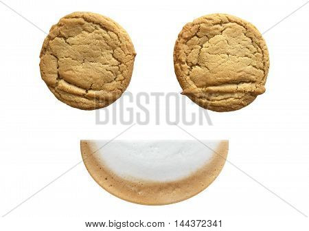 Cookies Isolated On White Background with latte foam smiling shape