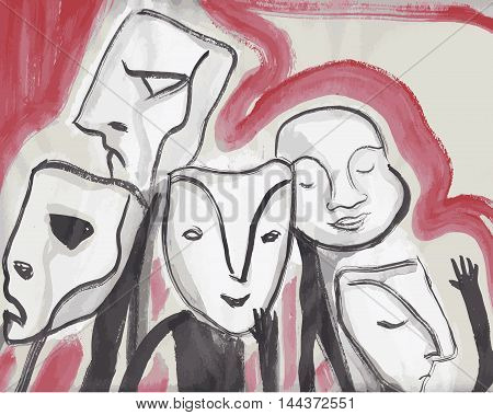 Hand drawn illustration or drawing of some people with masks