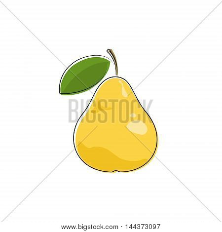 Yellow Pear Isolated on White Background ,Fruit Pear, Vector Illustration