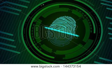 Fingerprint with concept green abstract technology background