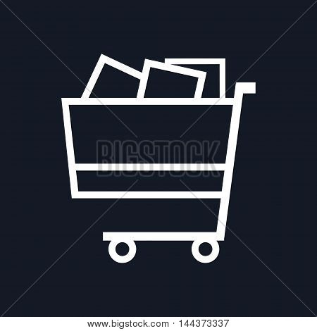 Cart Basket of Goods Isolated on Black Background,Trolley for Purchases ,Vector Illustration