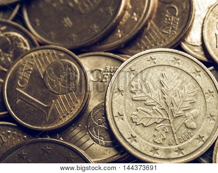 Vintage Euro Coins Background