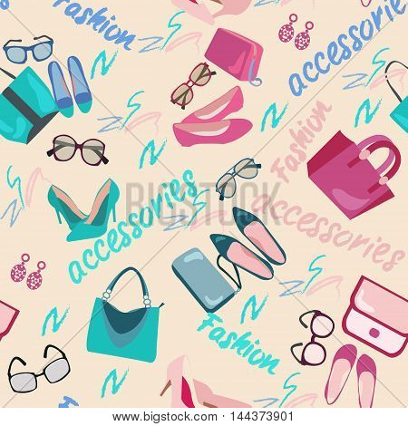 Pattern seamless of woman accessories bags shoes and glasses. Fashion shopping background with women shoes bags and accessories vector illustration