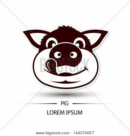Pig Face Happy Logo And White Background Vector