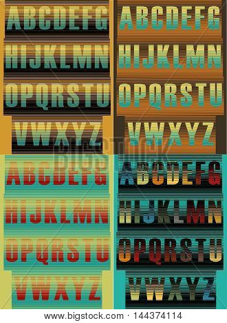 Striped artistic alphabets. Unusual font. Striped background. Vector illustration