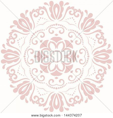 Oriental pattern with arabesques and floral elements. Traditional classic ornament. Pink round pattern