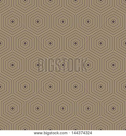 Geometric fine abstract hexagonal background. Seamless modern pattern. Brown and golden pattern