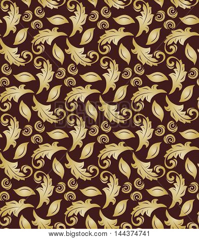 Floral ornament. Seamless abstract classic pattern with flowers. Brown and golden pattern