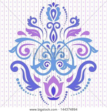Elegant ornament in the style of barogue. Abstract traditional pattern with oriental elements. Blue and purple pattern