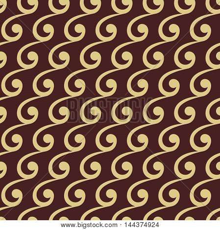 Seamless ornament. Modern geometric pattern with repeating wavy elements. Brown and golden pattern