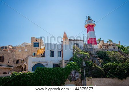 Lighthouse in the historic old city of Jaffa in Tel Aviv