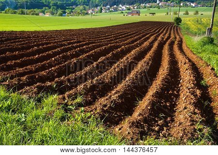 Plowed fields and lush green grass. Moravian landscape.