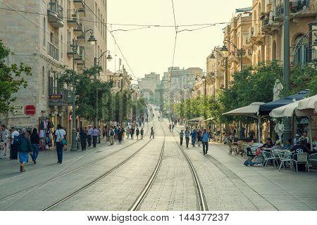 JERUSALEM, ISRAEL - JUNE 1, 2015:Jaffa Road is one of the longest and oldest major streets in Jerusalem. June 1, 2015. Jerusalem, Israel.