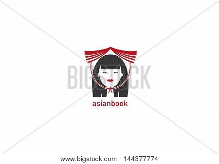 bookstore logo Creative development of Asian with book on head
