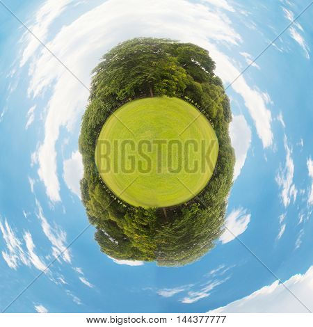 Little planet with green grass ecology concept save the world