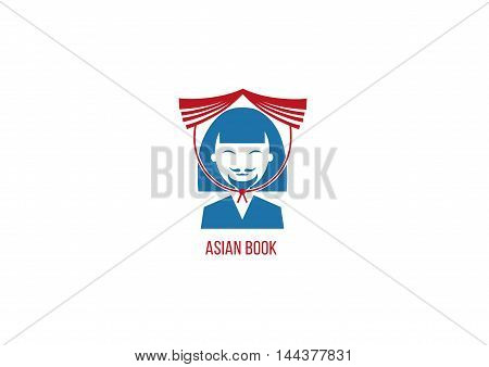 bookstore logo of Asian men with book on head