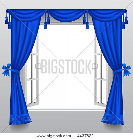 Open white double window with classic blue blinds