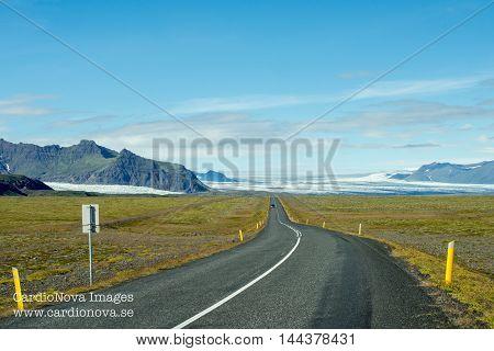 The ring road and Vatnajökull glacier in Iceland. Vatnajökull glacier is one of the largest in Europe