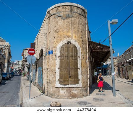 TEL AVIV, ISRAEL - JUNE 5, 2015: Old town street in Tel Aviv