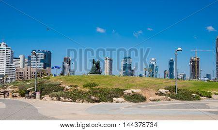 TEL AVIV, ISRAEL - JUNE 4, 2015: View of the business district with modern buildings in Tel Aviv. June 4, 2015. Tel Aviv, Israel.